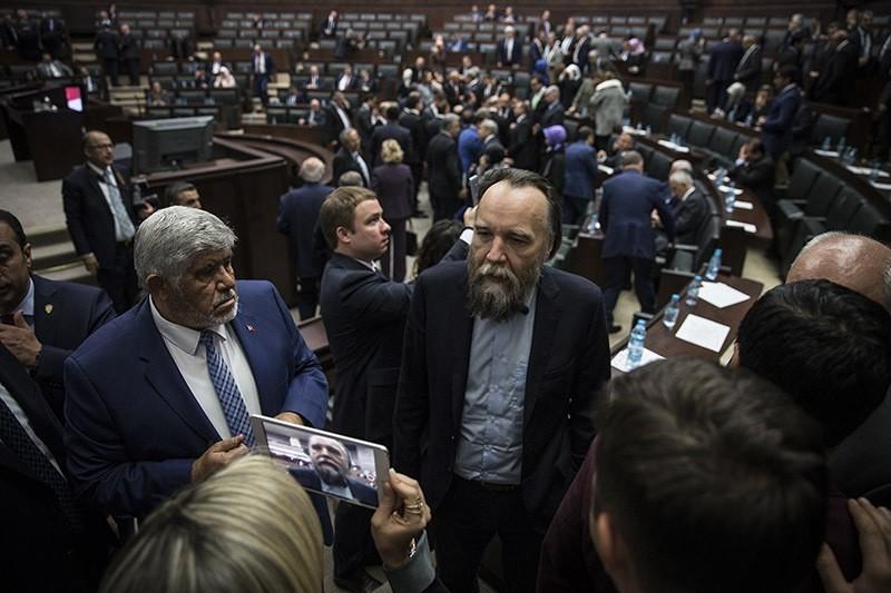 Russian political scientist, strategist Aleksander Dugin attends AK Party parliamentary group meeting on Nov. 8, 2016 in Ankara. (AA Photo)