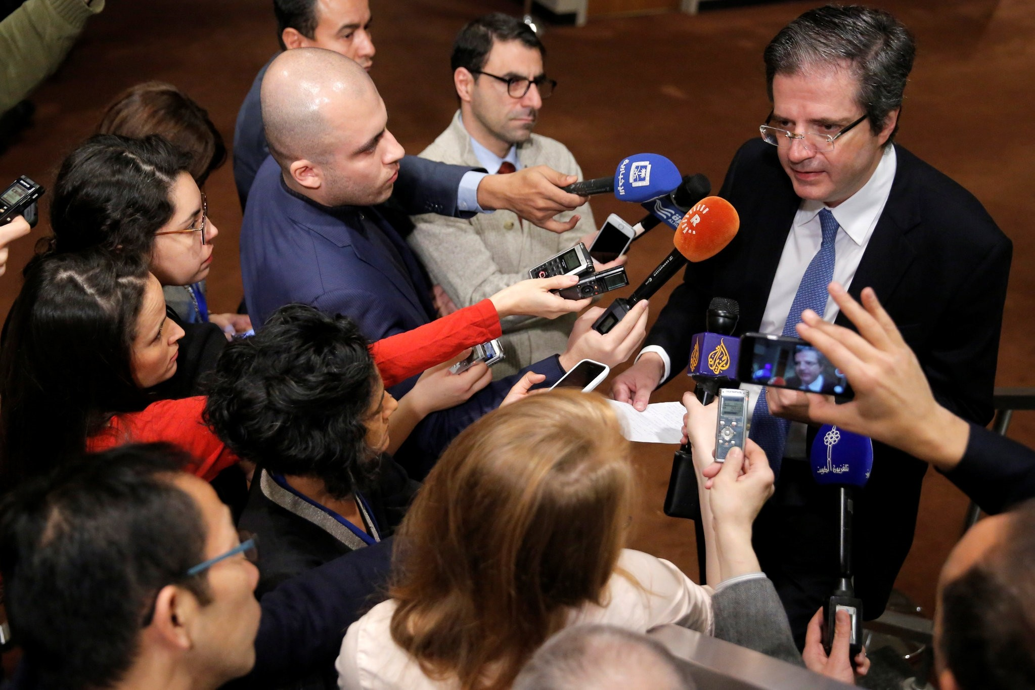 Permanent Representative of France to the United Nations Francois Delattre speaks to media ahead of a United Nations Security Council vote, December 18, 2016. (REUTERS Photo)