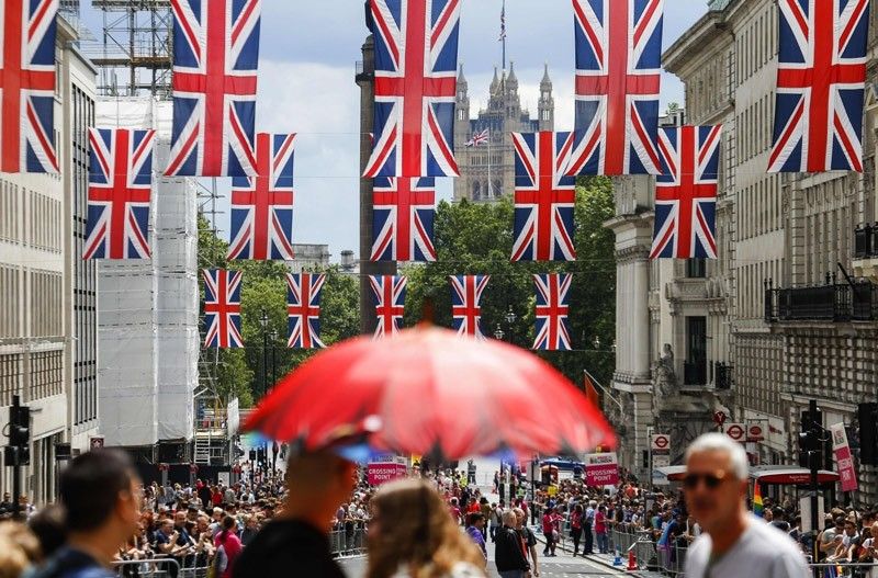 Union flag banners hang across a street near the Houses of Parliament in central London on June 25, 2016  AFP Photo