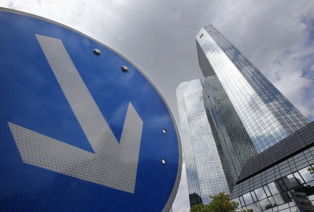 The headquarters of Deutsche Bank is photographed in Frankfurt.