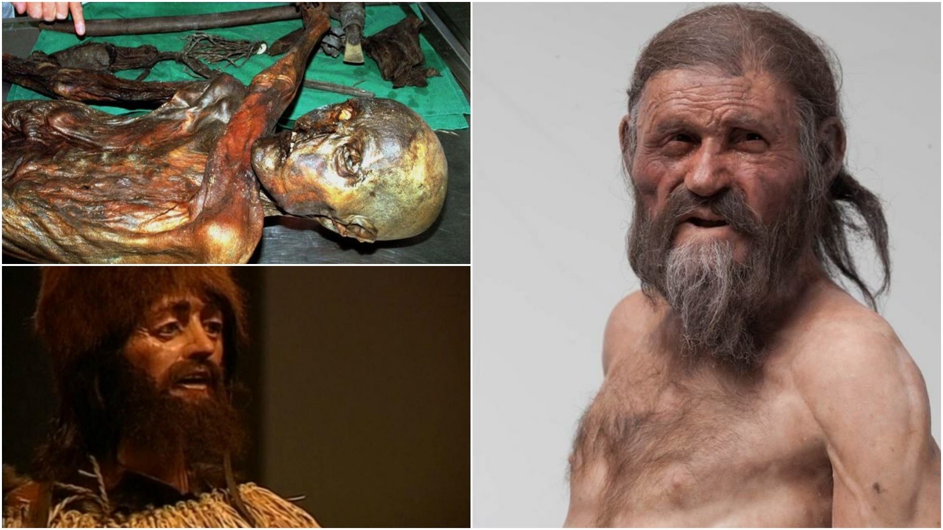 Combination of images shows the 5,300-year-old well-preserved mummified body of Otzi and reconstructions of what he might have looked like. (FILE Photos)