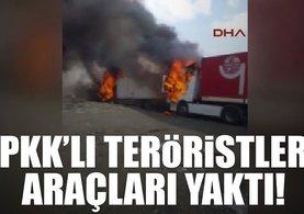 PKK'lı teröristler Tendürek'te araçları yaktı