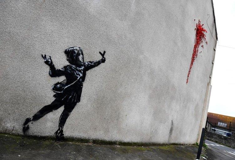 Banksy 14 Şubat Sevgililer Günü'nde ortaya çıktı