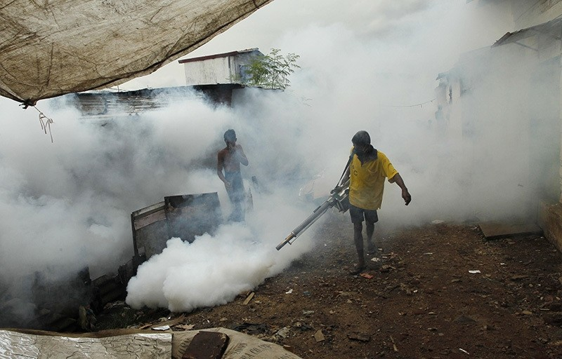 In this Oct. 26, 2011 file photo, a Sri Lankan laborer fumigates buildings to control mosquitoes in Colombo, Sri Lanka. (AP Photo)