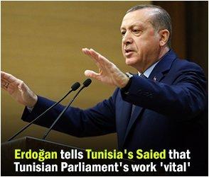 Erdoğan tells Tunisia's Saied that Tunisian Parliament's work 'vital'