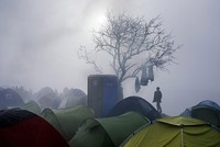 Refugees in tents to be relocated indoors due to cold weather in Greece