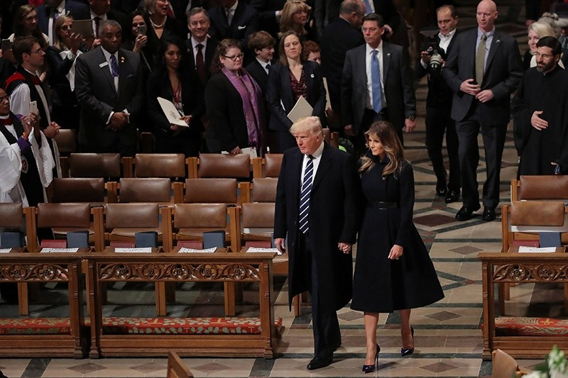 U.S. President Donald Trump and First Lady Melania Trump arrive to a church service at the National Cathedral in Washington, U.S., January 21, 2017. (Reuters Photo)