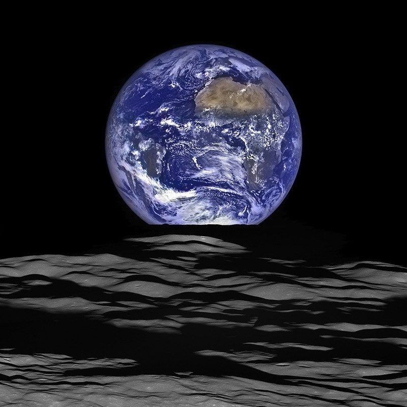 This NASA image released December 18, 2015 shows what NASA's Lunar Reconnaissance Orbiter (LRO) recently captured in a view of Earth from the spacecraft's vantage point in orbit around the moon. (AFP Photo)