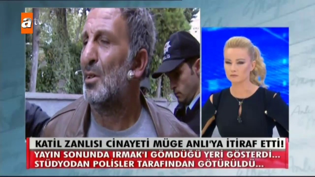 Himmet Aktu00fcrk (L), who raped and killed Irmak Kupal, confessed his crime on a daily TV program broadcasted on channel ATV and hosted by investigative journalist Mu00fcge Anlu0131 (R).