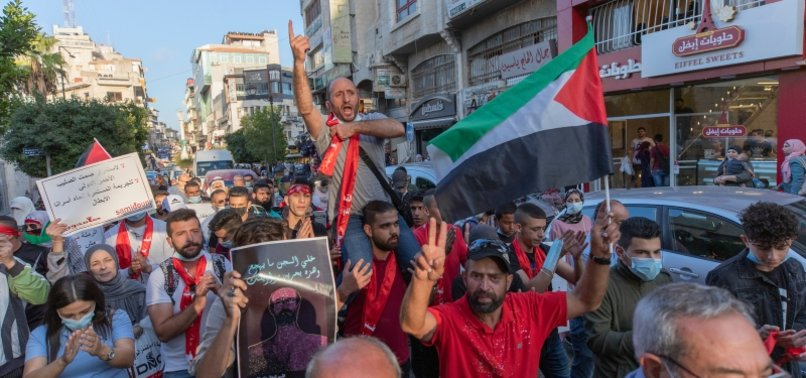GAZANS RALLY TO SUPPORT PALESTINIAN HUNGER STRIKER