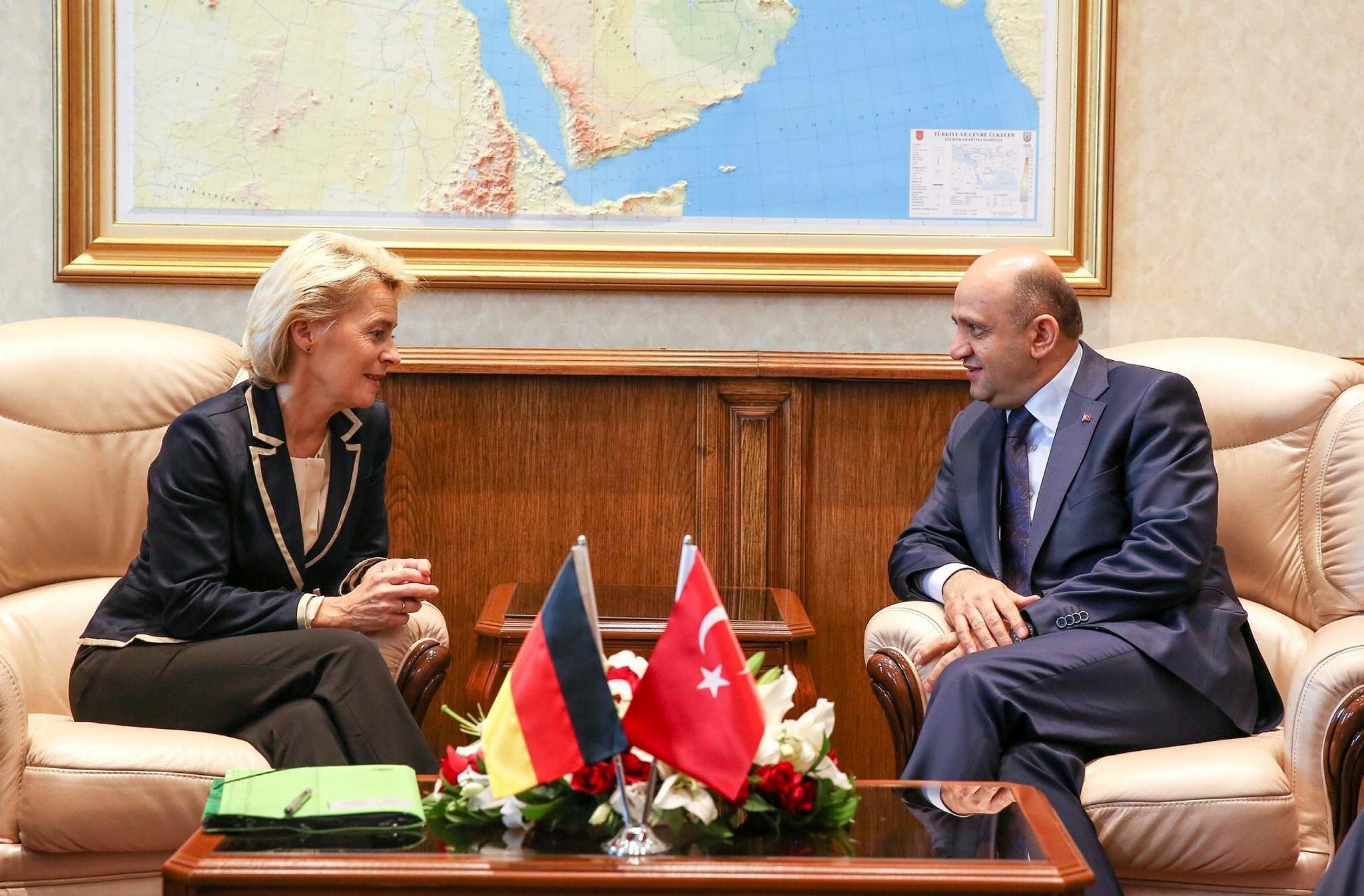 Turkish Defense Minister Fikri Isik (R) meets German Defense Minister Ursula von der Leyen (L) at Turkish Defense Ministry in Ankara, Turkey on July 1, 2016.  (AA Photo)