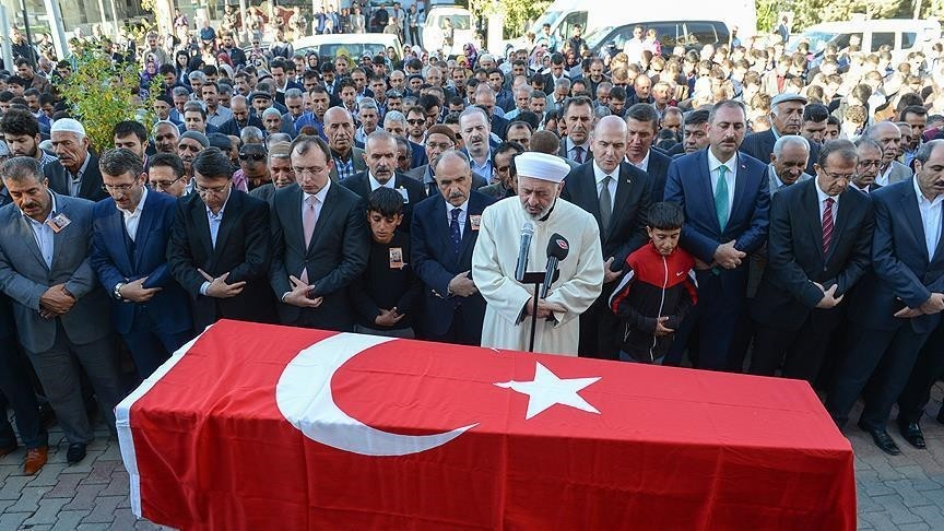 Funeral of Aydu0131n Muu015ftu, the AK Partyu2019s deputy head in the district of u00d6zalp of the southeastern province of Van, was found dead in his home after being ambushed by PKK terrorists.
