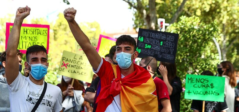 PROTESTS IN MADRID BEFORE PARTIAL LOCKDOWN WIDENED
