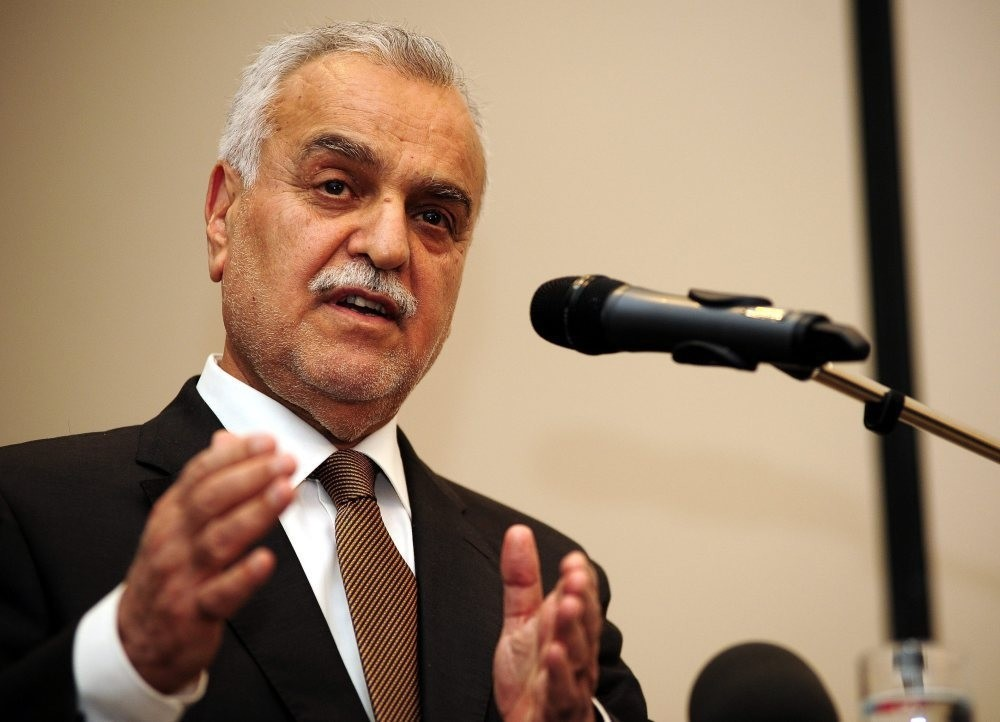 Al-Hashimi speaks at a press conference in Ankara in 2014. The former Iraqi vice president had to leave his country over what he called a politically motivated trial against him.