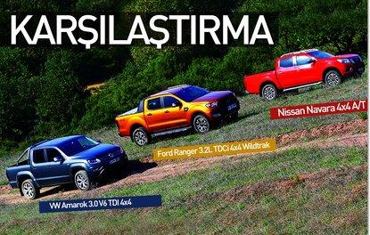 KARŞILAŞTIRMA · Ford Ranger 3.2L TDCi 4x4 Wildtrak, Nissan Navara 4x4 A/T, VW Amarok 3.0 V6 TDI 4x4