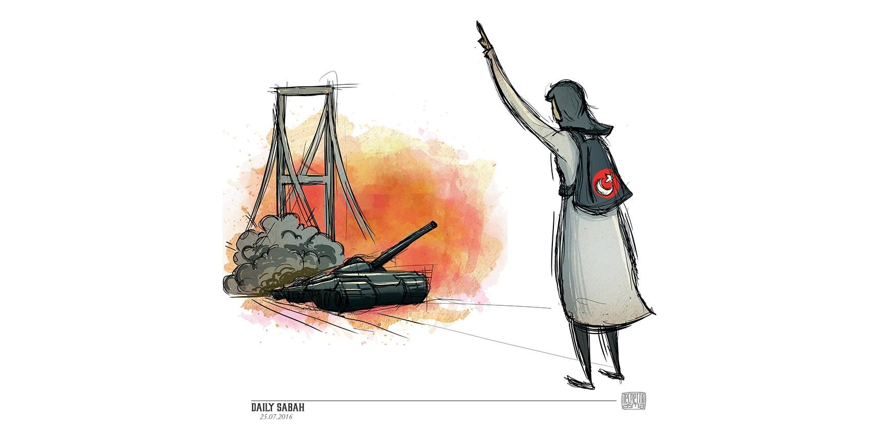 Safiye Bayat stood up against the Gu00fclenist coup plotters on Istanbul's Bosporus Bridge on July 15 and was injured by their shootings. (Illustration by Necmettin Asma - twitter.com/necmettinasma)
