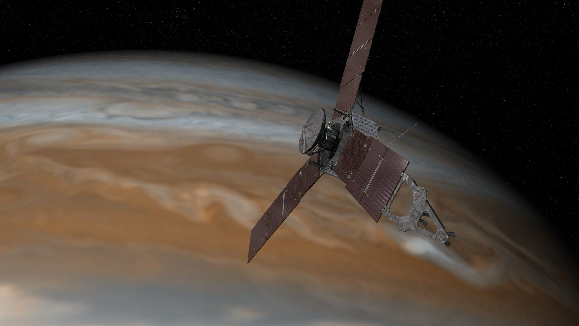 This artist's rendering provided by NASA and JPL-Caltech shows the Juno spacecraft above the planet Jupiter. (AP PHOTO)