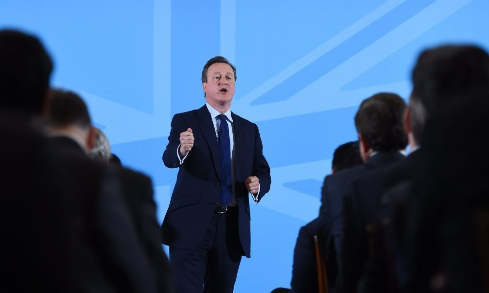 British Prime Minister, Cameron speaks to members of the World Economic Forum at Mansion House in London on May 17.