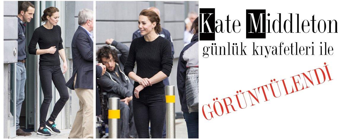 Kameraların karşısına her zaman şık kıyafetleri ile çıkan Kate Middleton, bu kez günlük kıyafetleri ile görüntülendi.