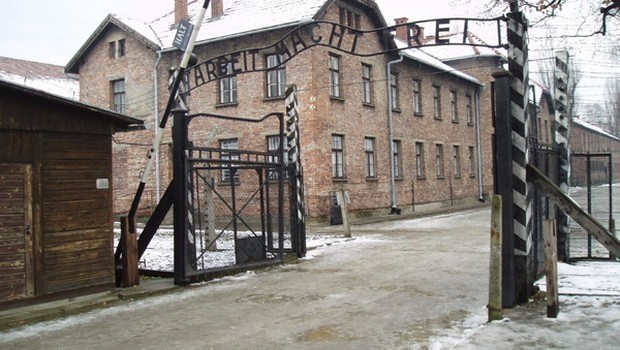 The famous ,Work sets you free, sign is seen at the entrance of the Auschwitz concentration camp where Jews were tortured and killed by the Nazi Germany.