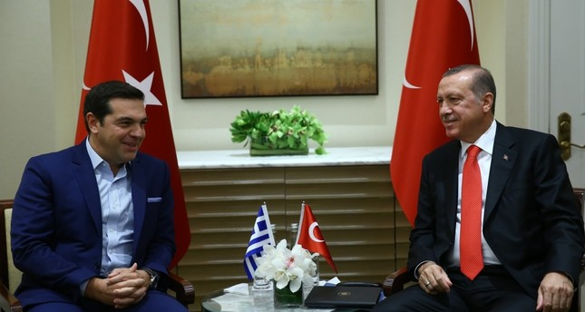 President Erdoğan received Greece's Tsipras at Peninsula Hotel in New York