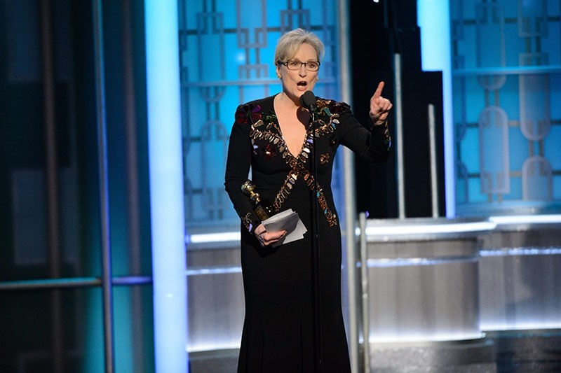 Meryl Streep accepting the Cecil B. DeMille Lifetime Achievement Award during the 74th annual Golden Globe Awards ceremony (EPA Photo)