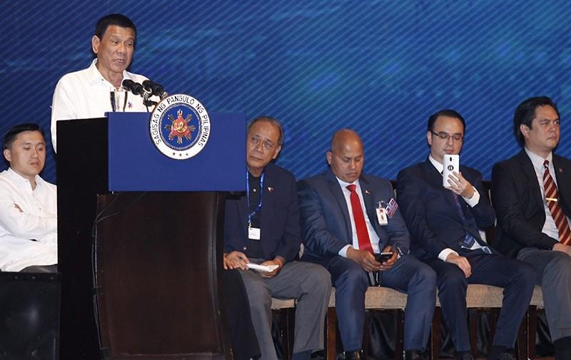 Filipino President Rodrigo Duterte speaks during a meeting with Filipino community in Phnom Penh, Cambodia on Dec. 13, 2016. (EPA Photo)