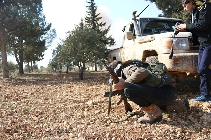 Free Syrian Army (FSA) fighters seen during their advance in Suflaniyah village near al-Bab, Jan. 19, 2017. (AA Photo)