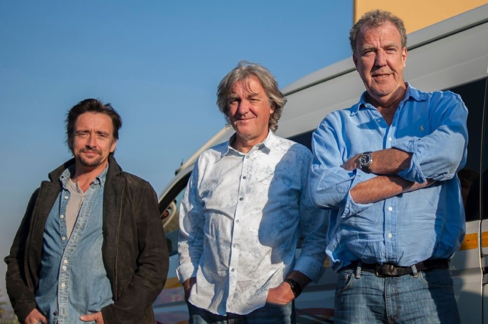 (L-R) Richard Hammond, James May and Jeremy Clarkson pose at the Ticketpro Dome in Johannesburg.