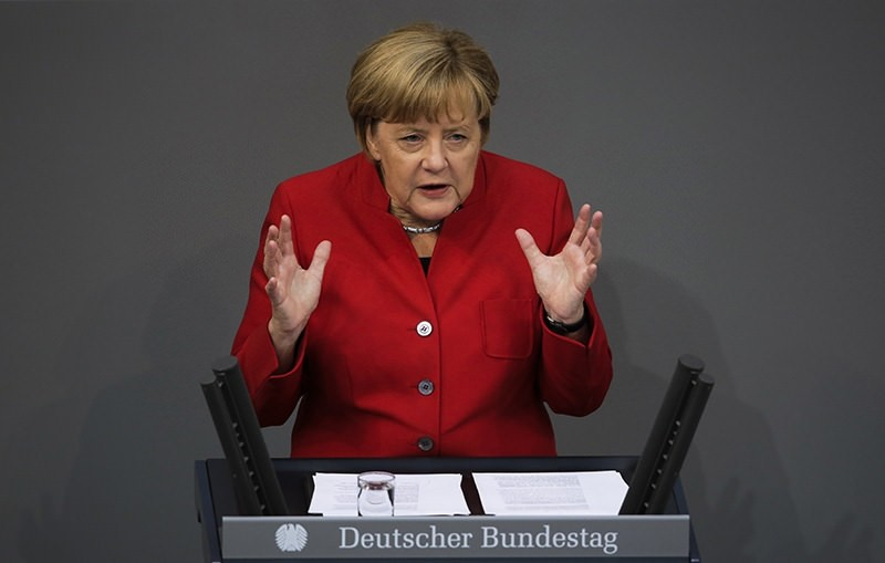 German Chancellor Angela Merkel delivers her speech during the budget 2017 debate at the German parliament Bundestag (AP Photo)