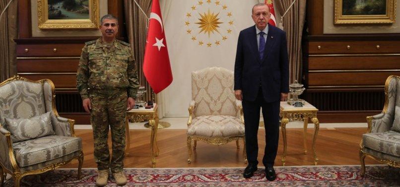 TURKISH PRESIDENT RECEIVES AZERBAIJANI DEFENSE MINISTER, CHIEF OF GENERAL STAFF