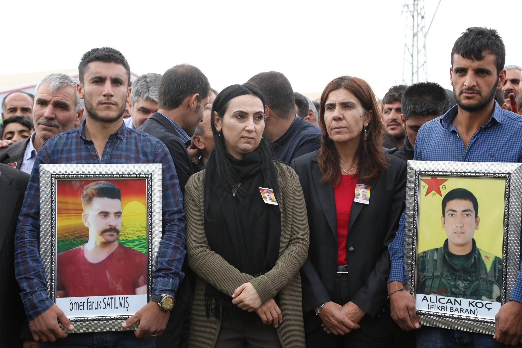 HDP co-chair Figen Yu00fcksedau011f (second from left), attending the funeral ceremony of two PKK terrorists. (AA Photo)