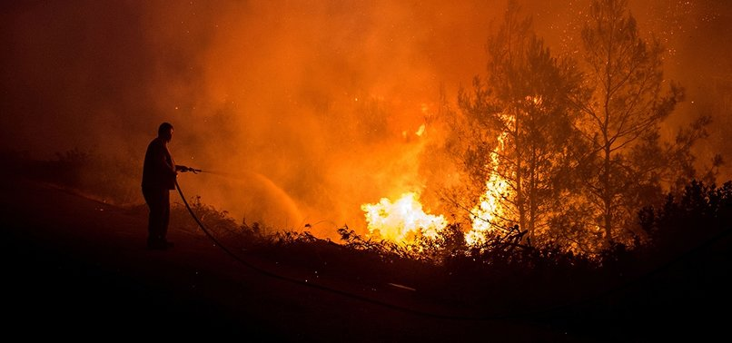 VILLAGES EVACUATED AS WILDFIRE RAGES ON GREEK ISLAND OF EVIA, SMOKE REACHES ATHENS
