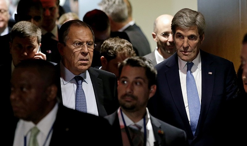 A file picture dated 22 September 2016 shows John Kerry (R), US Secretary of State and Sergei Lavrov (C), Russian Minister of Foreign Affairs exiting after a meeting (EPA Photo)