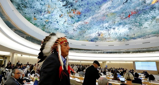 Dave Archambault II, chairman of the Standing Rock Sioux tribe, leaves after his speech against the Energy Transfer Partners' Dakota Access oil pipeline at the UN in Geneva, September 20, 2016 (Reuters Photo)