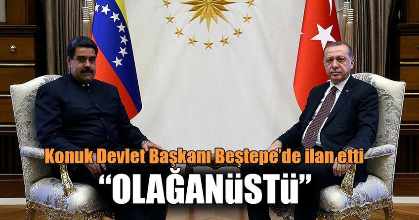 Cumhurbaşkanı Erdoğan'dan Venezuela Devlet Başkanı ile ortak açıklama