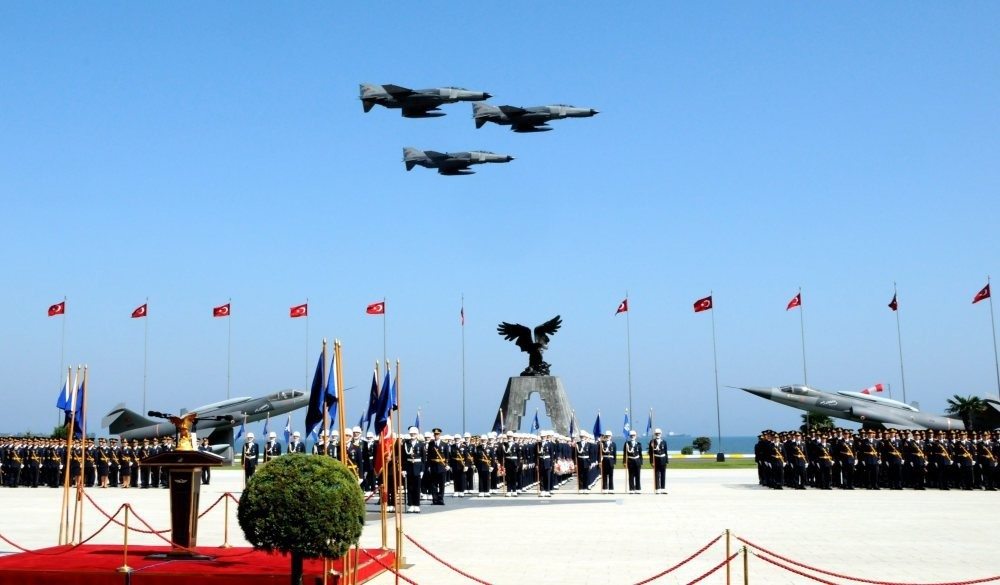 Fighter jets fly above cadets graduating from Air Force military school in Istanbul in 2010. FETu00d6 is accused of secretly installing its followers into military schools throughout Turkey.