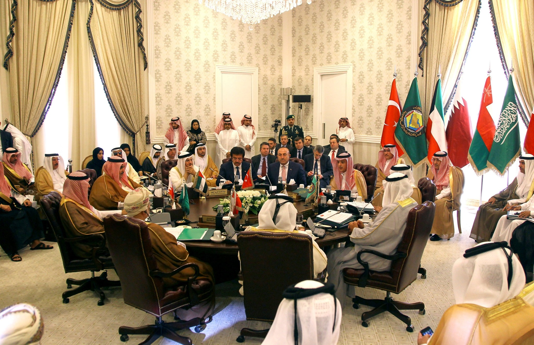 Mevlu00fct u00c7avuu015fou011flu attends a meeting with Foreign Ministers of Gulf Cooperation Council (GCC) in Riyadh, Saudi Arabia, October 13, 2016. (REUTERS Photo)