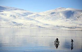 Frozen Lake Çıldır in eastern Turkey provides opportunity for ice-cycling