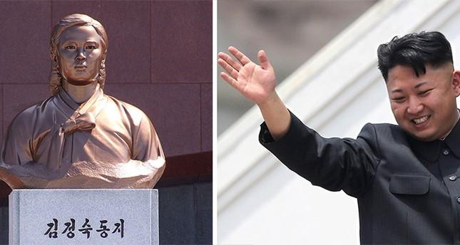 The North Korean leader of Kim Jong-un and the statue of his grandmother Kim Jong-Suk