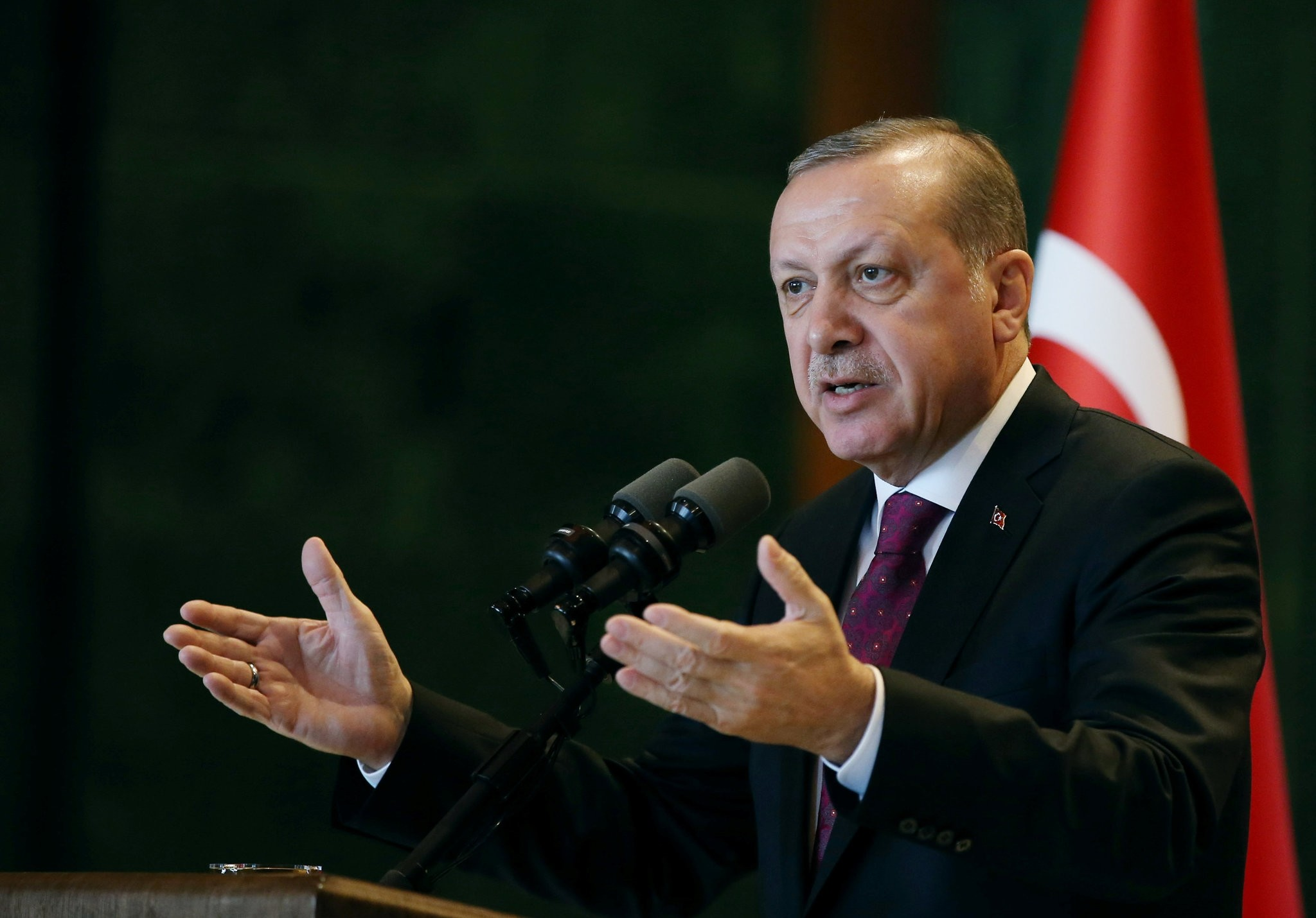 Turkey's President Tayyip Erdou011fan addresses district governors at the Presidential Palace in Ankara, Turkey, Jan. 10.