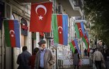 Azerbaijani and Turkish flags ornament Baku streets