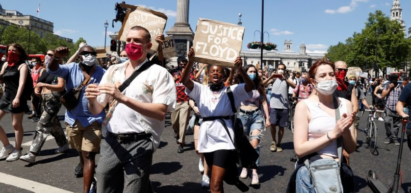 THOUSANDS JOIN LONDON PROTEST OVER FLOYDS DEATH