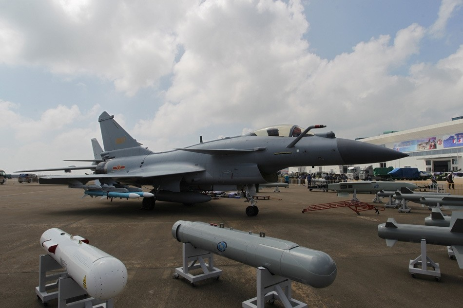 A Chinese J-10B fighter is seen ahead of the China International Aviation and Aerospace Exhibition in Zhuhai, Guangdong province.