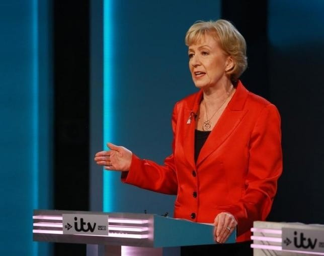 Energy Minister Andrea Leadsom speaks during the ''The ITV Referendum Debate'' at the London Television Centre in Britain, June 9, 2016. (REUTERS Photo)