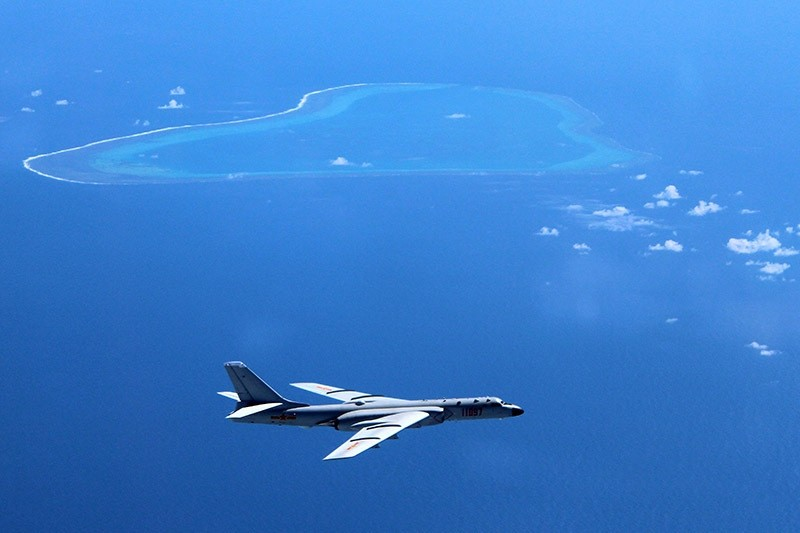 In this undated file photo a Chinese H-6K bomber patrols the islands and reefs in the South China Sea. (AP Photo)