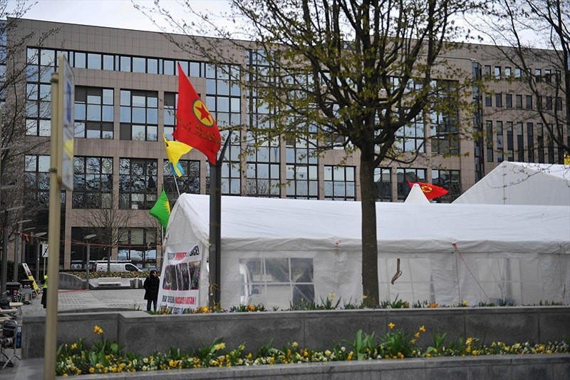 This file photo dated March 20, 2016 shows a PKK tent erected in central Brussels during migration summit between Turkey and EU. (Takvim Photo)