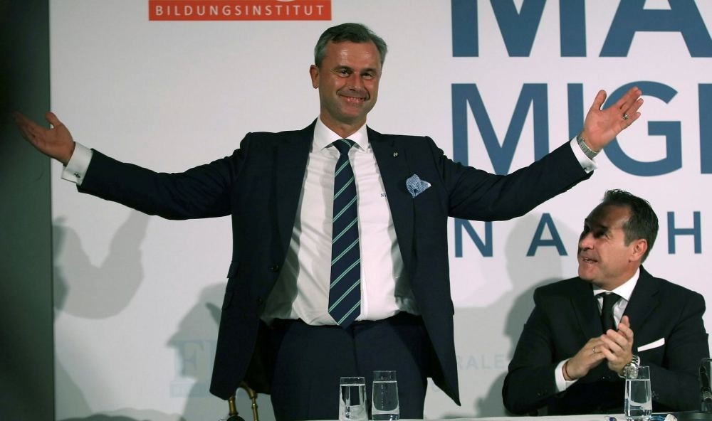 Candidate for presidential elections of Austriau2019s right-wing Freedom Party, FPOE, Norbert Hofer.
