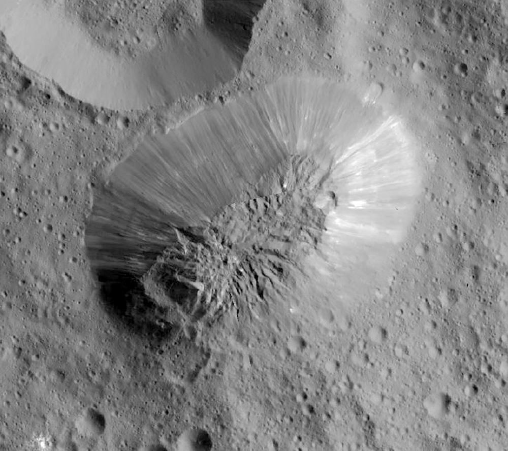 an inactive volcano on the surface of Ceres, the largest object in the asteroid belt between Mars and Jupiter (NASA via AP)