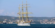 Historic military training ship passes through Bosporus